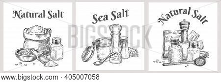 Sea Salt Labels. Natural And Organic Salting Crystals For Bath. Cooking Poster With Seasoning. Vinta