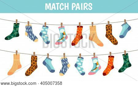 Matching Socks Game. Puzzle Find Pair. Preschool Children Educational Worksheet Activity. Socks On L