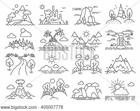 Line Nature Landscape. Forest Trees, Mountain, Tropical Sea Island, Desert And Volcano. Outdoor Adve