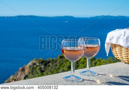 Picnic With Of Local Rose Wine And Blue Mediterranean Sea On Background, Near Saint-tropez, Var, Pro
