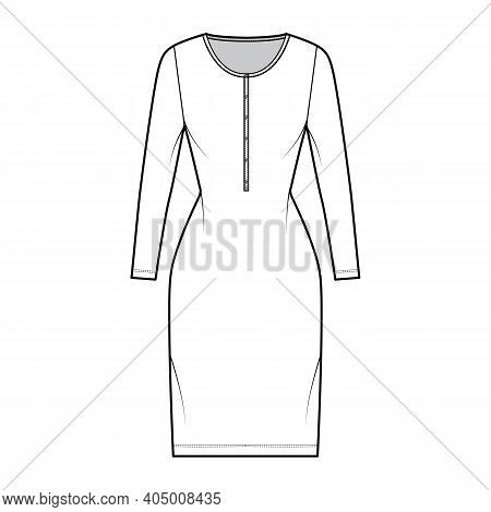 Shirt Dress Technical Fashion Illustration With Henley Neck, Long Sleeves, Knee Length, Fitted Body,