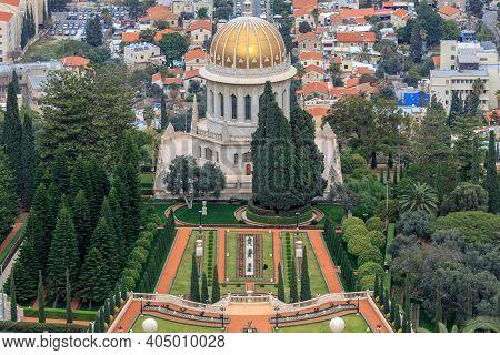 Haifa, Israel - January 07, 2016: Top View Of The Bahai Garden And Haifa,