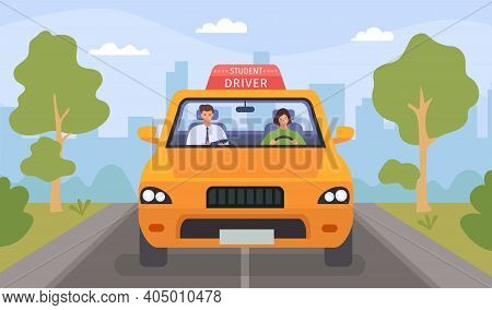 Driving School Lesson. Cartoon Instructor And Female Student Drive Car On Road. Teacher Tests Woman