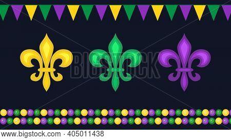 Beautiful Yellow, Green, Purple Fleur-de-lis Lilies Symbol, Flag Garlands And Beads On Black Backgro