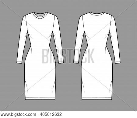 T-shirt Dress Technical Fashion Illustration With Crew Neck, Long Sleeves, Knee Length, Slim Fit, Pe