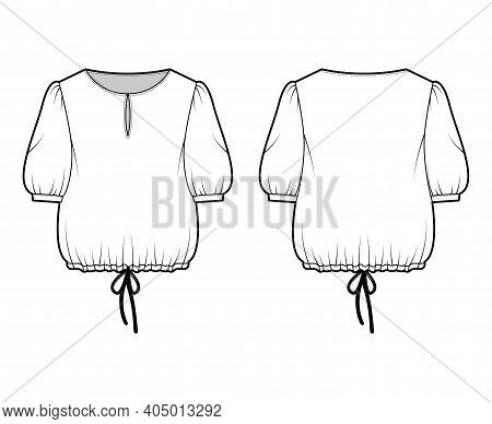 Blouse Cropped Drawstring Technical Fashion Illustration With Scoop Neck, Elbow Sleeves, Slashed But
