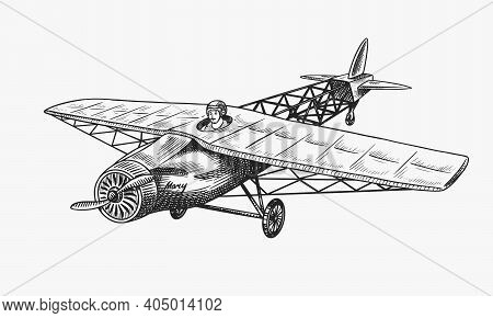 Passenger Airplane Corncob Or Plane Aviation Travel Illustration. Engraved Hand Drawn In Old Sketch