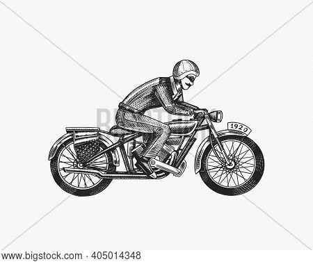 Motorcycle For Biker Club Templates. Vintage Custom Emblem, Label Badge. Fire Racer For T Shirt. Mon