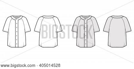 Shirt Baseball Button Front Technical Fashion Illustration With Raglan Short Sleeves, Button Up, Ove