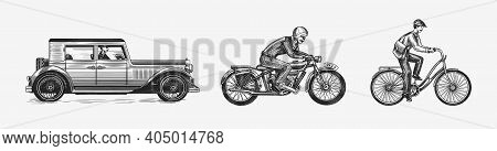 Motorcycle For Biker Club Templates. Bicycle And Bike. Car Or Auto. Vintage Custom Label Badge. Fire