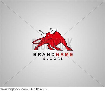 Bull Logo Vector Illustration. Emblem Design On Black Background. Vector Bull Silhouette Stylish Bul