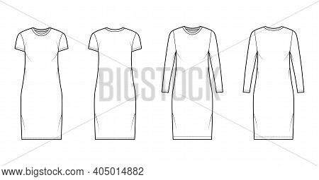 Set Of T-shirt Dresses Technical Fashion Illustration With Crew Neck, Long And Short Sleeves, Knee L