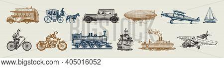 Submarine, Boat And Car, Motorbike, Horse-drawn Carriage. Airship Or Dirigible, Air Balloon, Airplan