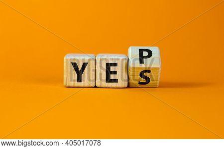 Yes Or Yep Symbol. Turned A Cube, Changed The Word 'yes' To 'yep'. Beautiful Orange Background. Copy