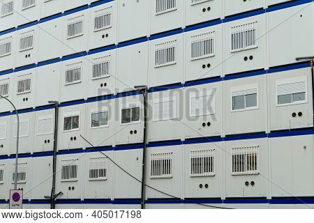 Prefabricated Modular Offices. Stacking Of Boxes For Construction Site.