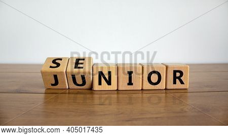 From Junior To Senior Symbol. Turned Cubes And Changed The Word 'junior' To 'senior'. Beautiful Wood