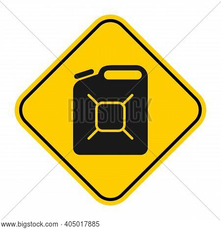 Jerrycan Icon Liquid Container Isolated On Yellow Sign Frame. Vector Illustration.