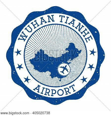 Wuhan Tianhe Airport Stamp. Airport Of Wuhan Round Logo With Location On China Map Marked By Airplan