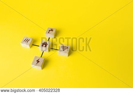 House And Blocks With Utilities Public Service Symbols. Concept Of Real Estate And Infrastructure Co