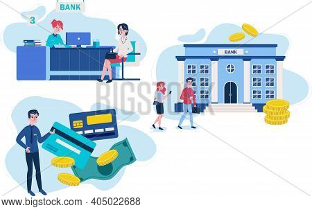 Set Of Bank Workers And Clients Different Financial Affairs Consultancy. Vector Illustration In Cart
