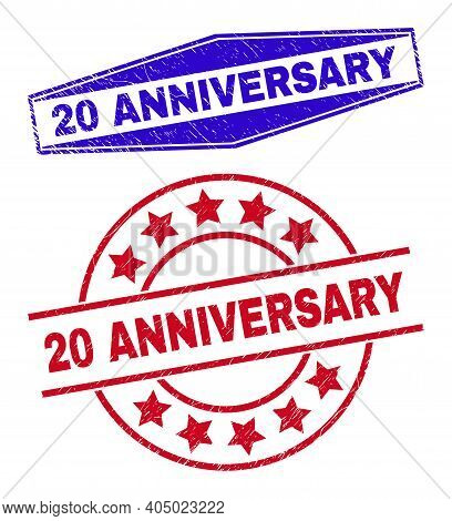 20 Anniversary Stamps. Red Rounded And Blue Flattened Hexagon 20 Anniversary Watermarks. Flat Vector