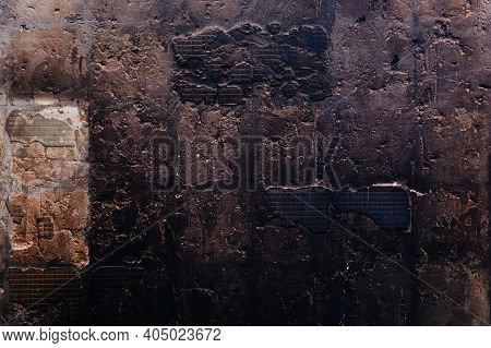 Charred Concrete Surface. Burnt Charred Wall Background.