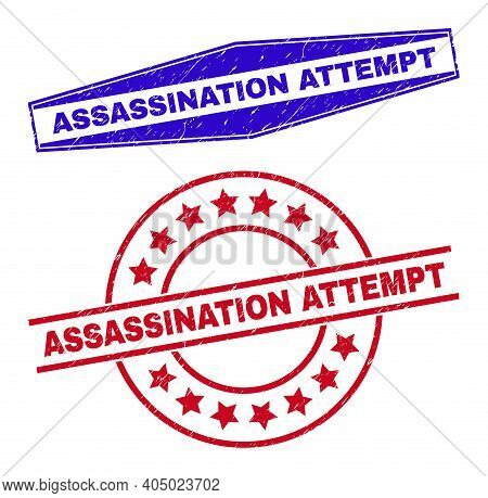 Assassination Attempt Badges. Red Rounded And Blue Flatten Hexagon Assassination Attempt Stamps.