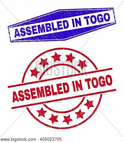 Assembled In Togo Stamps. Red Rounded And Blue Extended Hexagon Assembled In Togo Stamps. Flat Vecto