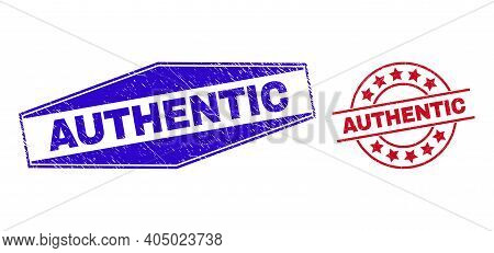 Authentic Badges. Red Rounded And Blue Extended Hexagon Authentic Rubber Imprints. Flat Vector Scrat
