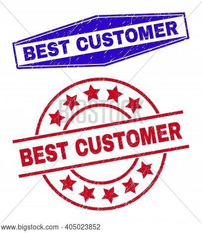 Best Customer Stamps. Red Rounded And Blue Squeezed Hexagon Best Customer Seal Stamps. Flat Vector G