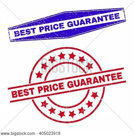 Best Price Guarantee Stamps. Red Rounded And Blue Stretched Hexagonal Best Price Guarantee Seals.