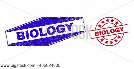 Biology Stamps. Red Circle And Blue Extended Hexagonal Biology Seal Stamps. Flat Vector Grunge Seal