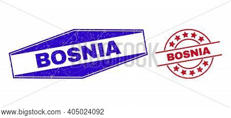 Bosnia Stamps. Red Rounded And Blue Flattened Hexagonal Bosnia Rubber Imprints. Flat Vector Distress