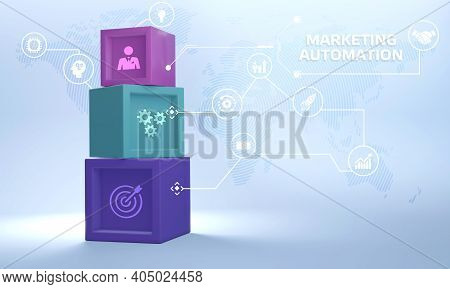 Planning Marketing Strategy. Business, Technology, Internet And Network Concept. Marketing Automatio