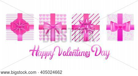 Set Pink Wrapped Gift Boxes With Bows Valentines Day Celebration Concept Horizontal Vector Illustrat