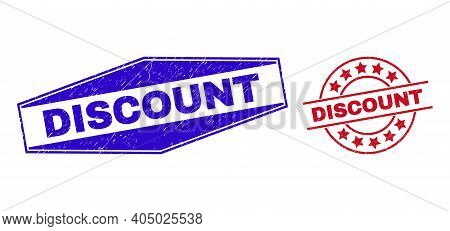 Discount Stamps. Red Rounded And Blue Expanded Hexagonal Discount Seal Stamps. Flat Vector Distress