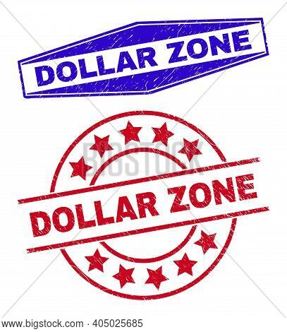 Dollar Zone Stamps. Red Round And Blue Expanded Hexagonal Dollar Zone Seal Stamps. Flat Vector Grung