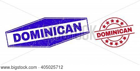 Dominican Stamps. Red Circle And Blue Stretched Hexagon Dominican Rubber Imprints. Flat Vector Textu