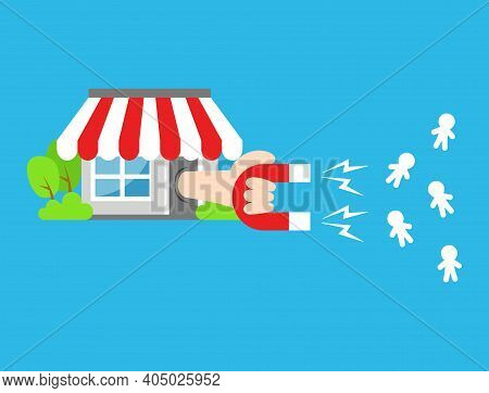 Shop Or Store Marketing Magnet Attract Many Visitor And Buyer With Horse Shoe Magnet Illustration