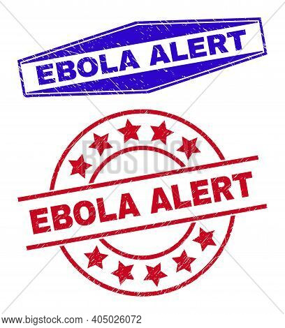 Ebola Alert Stamps. Red Circle And Blue Flatten Hexagon Ebola Alert Stamps. Flat Vector Textured Sea