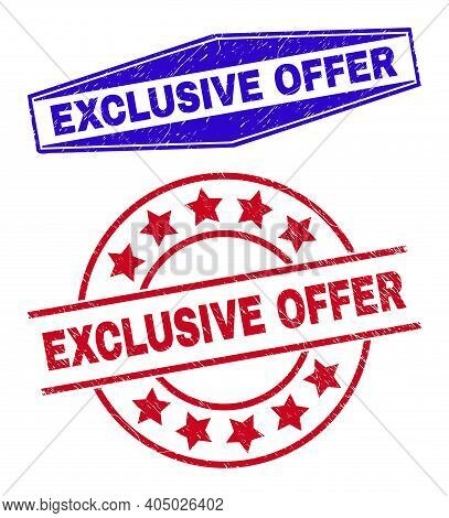 Exclusive Offer Stamps. Red Round And Blue Expanded Hexagonal Exclusive Offer Rubber Imprints. Flat