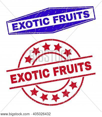 Exotic Fruits Stamps. Red Circle And Blue Squeezed Hexagonal Exotic Fruits Seal Stamps. Flat Vector