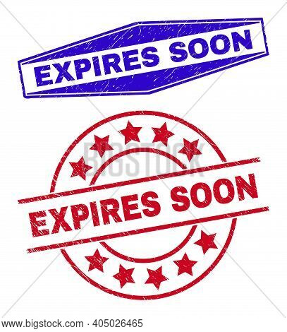 Expires Soon Stamps. Red Round And Blue Squeezed Hexagonal Expires Soon Rubber Imprints. Flat Vector