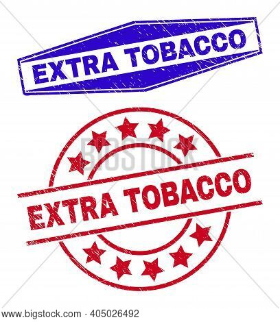 Extra Tobacco Stamps. Red Circle And Blue Compressed Hexagon Extra Tobacco Watermarks. Flat Vector D