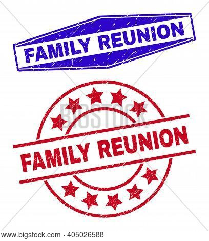 Family Reunion Stamps. Red Round And Blue Flatten Hexagon Family Reunion Seal Stamps. Flat Vector Gr