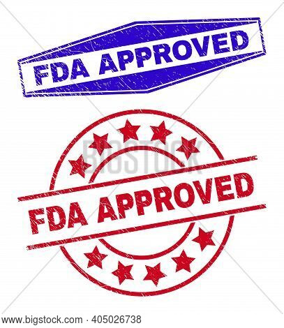 Fda Approved Stamps. Red Rounded And Blue Extended Hexagon Fda Approved Seal Stamps. Flat Vector Gru