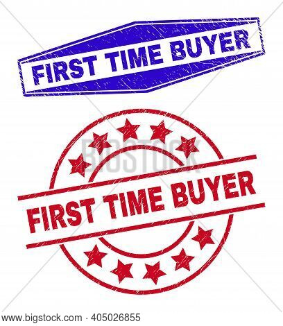 First Time Buyer Badges. Red Rounded And Blue Flattened Hexagon First Time Buyer Rubber Imprints.