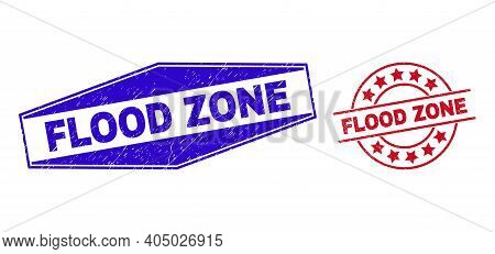 Flood Zone Stamps. Red Circle And Blue Flatten Hexagonal Flood Zone Seal Stamps. Flat Vector Grunge