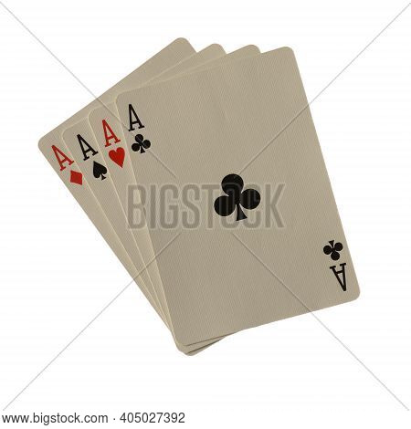 An Isolated Over White Background Image Of A Poker Hand Made Of Four Aces.