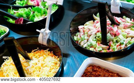Salad Bar Buffet At Restaurant. Fresh Salad Bar Buffet For Lunch Or Dinner. Healthy Food. Celery And